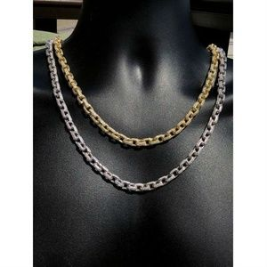 Harlembling Silver Gold Diamonds Rolo Link Chain